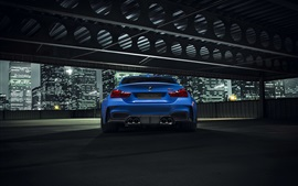 Preview wallpaper BMW GTRS4 Vorsteiner blue car rear view, night, city
