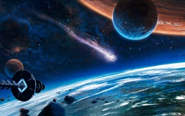 Preview wallpaper Beautiful space, planet, spaceship, comet, fantasy
