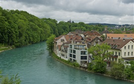 Preview wallpaper Bern, Switzerland, river, house, trees, cloudy sky