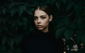 Black dress girl, leaves