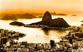 Preview wallpaper Brazil, Rio de Janeiro, city top view, coast, dawn, fog