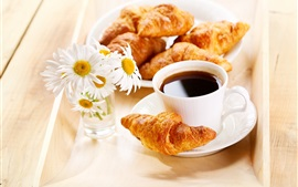 Preview wallpaper Breakfast, croissants, coffee, daisies flowers