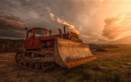 Preview wallpaper Bulldozers, graders, equipment, farmland, dusk