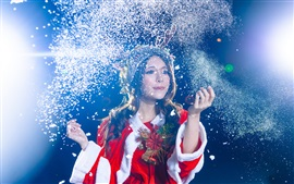 Christmas asian girl, celebration, snow flying