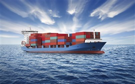 Preview wallpaper Container ship, sea, clouds
