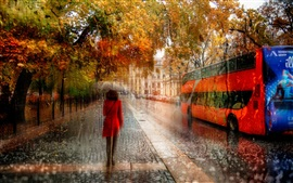 Creative pictures, St. Petersburg, girl, rain, autumn, road, cars