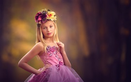 Preview wallpaper Cute little girl, wreath, purple dress