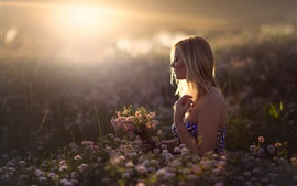 Preview wallpaper Girl in dreams, flowers, sun