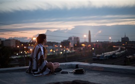 Preview wallpaper Girl, night, roof, sits, city, street, lights