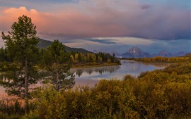 Grand Teton Park, Wyoming, USA, river, mountain, forest, autumn