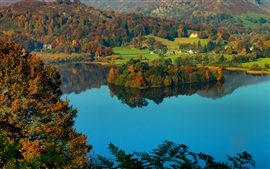 Preview wallpaper Grasmere Village, Cumbria, England, lake district, countryside, hills