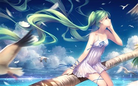 Preview wallpaper Hatsune Miku, green hair anime girl, seagulls, sea