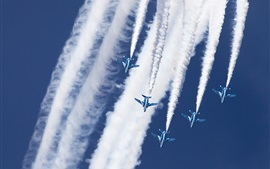 Preview wallpaper Kawasaki T-4, Blue Impulse, aerobatic group, sky, smoke