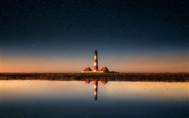 Preview wallpaper Lighthouse, sky, stars, sea, water reflection