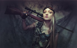 Preview wallpaper Long hair girl, rifle, look