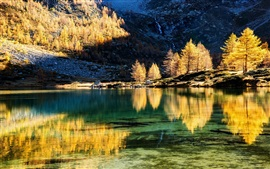 Preview wallpaper Mountains, trees, lake, water reflection, autumn, sunset