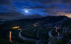 Night, mountains, stones, trees, road, moon