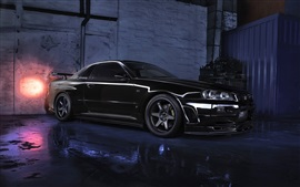 壁紙のプレビュー 日産スカイラインR34 GTR V黒い車、夜
