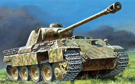 Panther, German, tank, art drawing