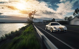 Porsche Cayman supercar, road, river, clouds