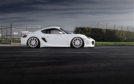 Porsche Cayman white car, dusk
