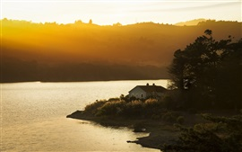 Preview wallpaper San Mateo, California, USA, sunset, lake, house, sunlight