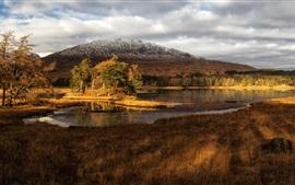 Scotland cenário, lago, montanhas, grama, árvores, nuvens, crepúsculo