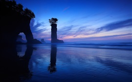 Preview wallpaper Sea, night, rock, arch, column