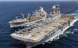 Preview wallpaper Ships, navy, USS Bataan, USNS Laramie