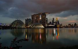 Aperçu fond d'écran Singapour, Marina Bay Sands, nuit, lumières, bâtiments, casino