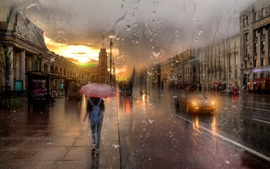 Preview wallpaper St. Petersburg, Nevsky prospect, rain, girl, night, lights, creative design