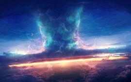 Tempestade, céu, nuvens, nave espacial, tornado, projeto da arte