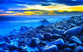 Preview wallpaper Sunset, sea, stones, dusk, blue style