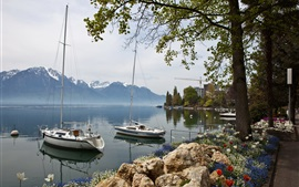 Preview wallpaper Switzerland, Montreux, sailing, boats, coast, mountains, houses