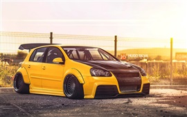 Preview wallpaper Volkswagen Golf yellow car