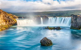 Preview wallpaper Waterfalls, river, beautiful landscape, river, stones, clouds