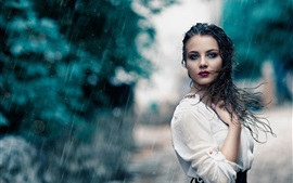 Preview wallpaper White dress girl in rain, wet