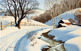 Preview wallpaper Winter scenery painting, stream, house, road, trees, snow