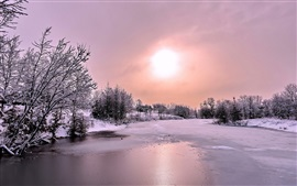 Winter, snow, forest, river, ice, sun, clouds, dusk