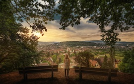 Zurich, Switzerland, city, town, houses, girl, trees