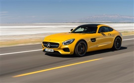 Preview wallpaper 2014 Mercedes-Benz AMG GT C190 yellow supercar speed