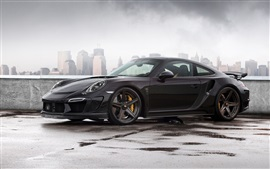 Preview wallpaper 2014 Porsche 911 Carrera Turbo, Stinger GTR 991 black car