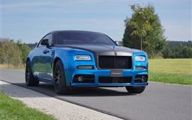 Preview wallpaper 2015 Mansory Rolls-Royce Wraith blue luxury car front view