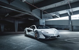 Preview wallpaper 2015 McLaren 570S white supercar, parking
