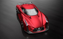 Preview wallpaper 2015 Nissan Concept 2020 Vision Gran Turismo, red supercar top view