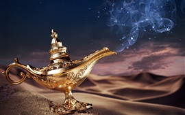 Preview wallpaper Aladdin's lamp, magic, golden, desert
