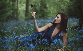 Preview wallpaper Amy Spanos, girl and flowers, butterfly