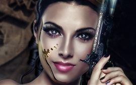 Preview wallpaper Art creative, girl, cyborg, eyes, face, arms, revolver