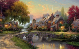 Art painting, cobblestone bridge, cottage, river, houses, trees