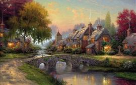Pintura da arte, paralelepípedos ponte, casa de campo, rio, casas, árvores